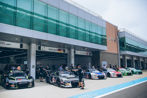 Cars in pitlane at Audi R8 LMS Cup, Rd5 and Rd6, Korea International Circuit, Yeongam, South Korea, 14-16 July 2017.