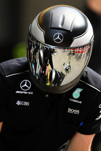 Mercedes AMG F1 mechanic at Formula One World Championship, Rd2, Chinese Grand Prix, Qualifying, Shanghai, China, Saturday 8 April 2017.
