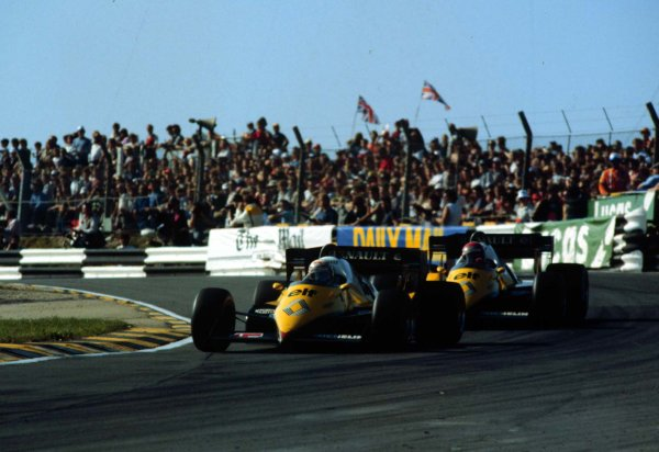 1983 European Grand Prix.Brands Hatch, England.23-25 September 1983.Alain Prost leads Eddie Cheever (both Renault RE40). Prost finished in 2nd position.  Ref: 83EUR02. World Copyright - LAT Photographic