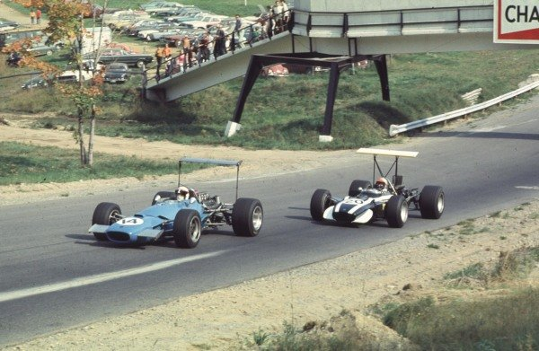 1968 Canadian Grand Prix.Mont-Tremblant, (St. Jovite), Quebec, Canada.20-22 September 1968.Jackie Stewart (Matra MS10 Ford) leads Lucien Bianchi (Cooper T86B BRM).Ref-68 CAN 26.World Copyright - LAT Photographic