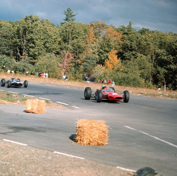Watkins Glen, New York, USA.1-3 October 1965.Lorenzo Bandini (Ferrari 1512) leads Jochen Rindt (Cooper T77 Climax). They finished in 4th and 6th positions respectively.Ref-3/1855.World Copyright - LAT Photographic