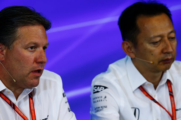 Spa Francorchamps, Belgium.  Friday 25 August 2017. Zak Brown, Executive Director, McLaren Technology Group, and Yusuke Hasegawa, Senior Managing Officer, Honda, in the Press Conference. World Copyright: Andy Hone/LAT Images  ref: Digital Image _ONZ9548