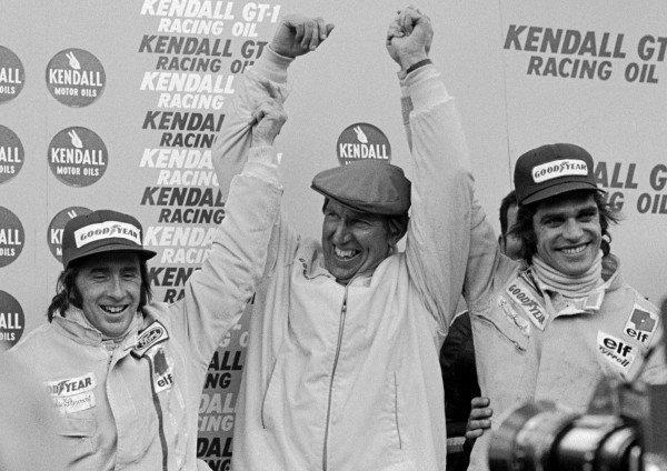 Ken Tyrrell (GBR) centre, celebrates a 1-2 finish with winner Jackie Stewart (GBR) Tyrrell left, and Francois Cevert (FRA) Tyrrell right Formula One World Championship, 12, United States Grand Prix, Watkins Glen, USA, 8 October 1972.