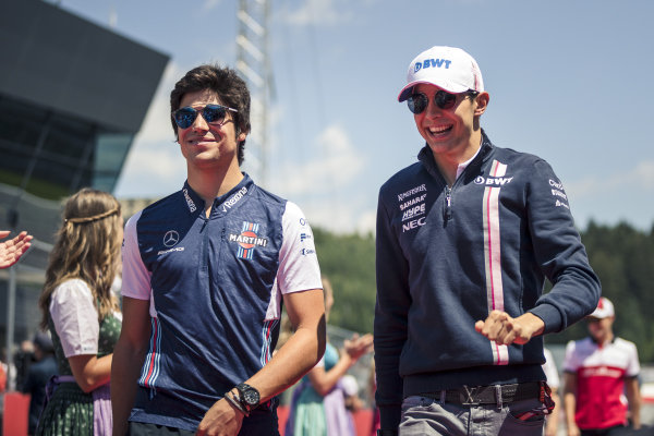 Lance Stroll (CDN) Williams and Esteban Ocon (FRA) Force India F1 on the drivers parade
