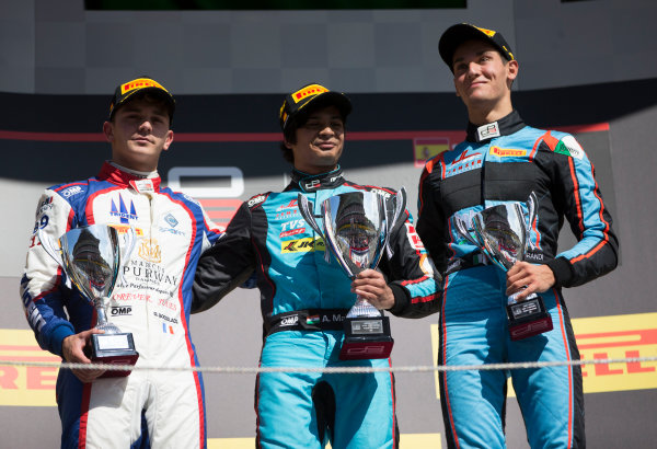 2017 GP3 Series Round 1.  Circuit de Catalunya, Barcelona, Spain. Sunday 14 May 2017. Winner of Race Two Arjun Maini (IND, Jenzer Motorsport) , second placed Dorian Boccolacci (FRA, Trident) and third placed Alessio Lorandi (ITA, Jenzer Motorsport) on the podium Photo: Jed Leicester/GP3 Series Media Service. ref: Digital Image JL1_0163