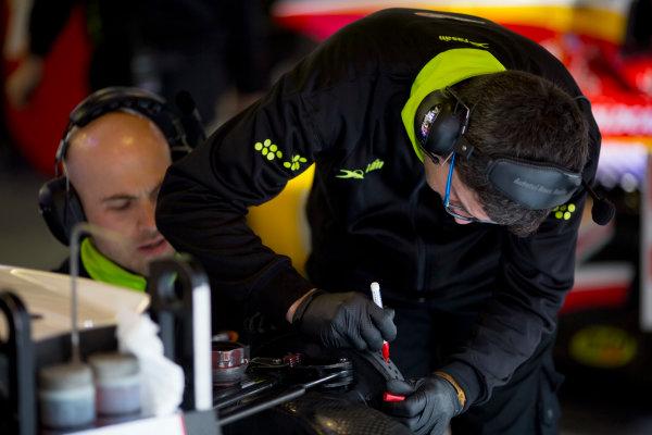 Circuit de Barcelona Catalunya, Barcelona, Spain. Wednesday 15 March 2017. Campos Racing mechanics at work.  Photo: Alastair Staley/FIA Formula 2 ref: Digital Image 585A9057