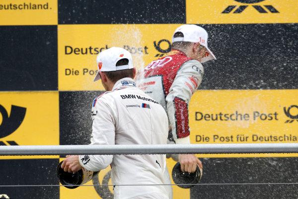 2017 DTM Round 1 Hockenheim, Germany. Sunday 7 May 2017. Podium: Marco Wittmann, BMW Team RMG, BMW M4 DTM and Jamie Green, Audi Sport Team Rosberg, Audi RS 5 DTM World Copyright: Alexander Trienitz/LAT Images ref: Digital Image 2017-DTM-R1-HH-AT1-3752