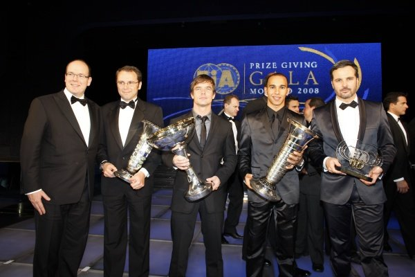 (L to R): HSH Prince Albert of Monaco, Stefano Domenicali (ITA) Ferrari Manager of F1 Operations, Sebastien Loeb (FRA), Lewis Hamilton (GBR) and Yvan Muller (FRA).