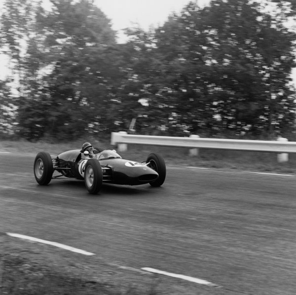 Watkins Glen, USA. 8th October 1961.Jim Clark (Lotus 21-Climax), 7th position, action. World Copyright: LAT Photographic.Ref:  10933.