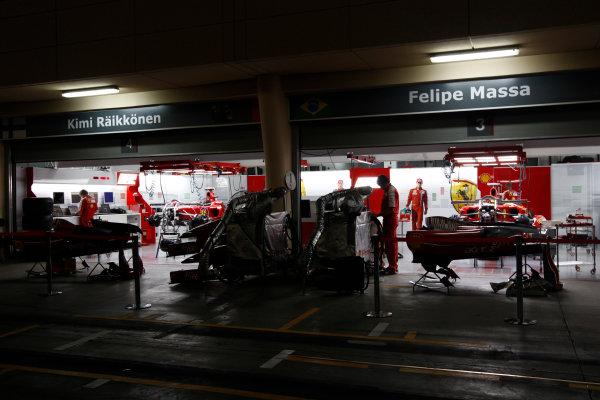 Bahrain International Circuit, Sakhir, Bahrain24th April 2009The Ferrari garage by night. Garages. Atmosphere. World Copyright: Andrew Ferraro/LAT Photographicref: Digital Image _H0Y8786