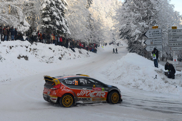 Martin Prokop (CZE) and Michal Ernst (CZE), Ford Fiesta RS WRC on stage 11. FIA World Rally Championship, Rd1, Rally Monte- Carlo, Day Three, Monte-Carlo, Monaco, 18 January 2013.