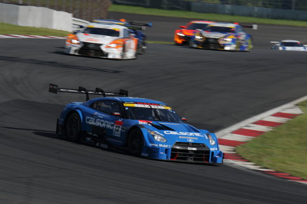 2016 Japanese Super GT Series. Fuji, Japan. 6th - 7th August 2016. Rd 5. GT500 Winner Hironobu Yasuda & J.P.L.De Oliveira ( #12 CALSONIC IMPUL GT-R ) action World Copyright : Yasushi Ishihara/LAT Photographic Ref : 2016SGT_R5_002