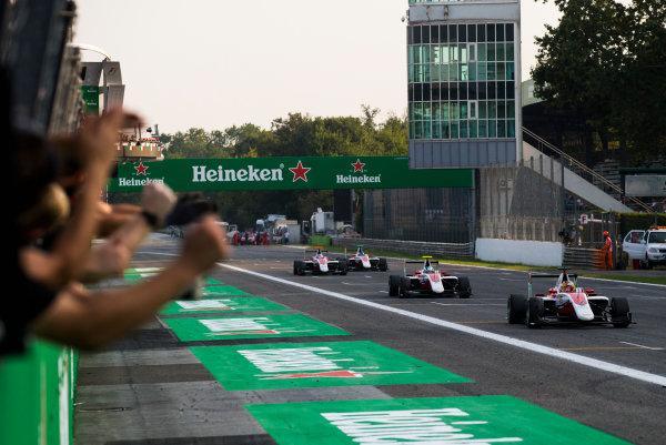 2016 GP3 Series Round 7 Autodromo di Monza, Italy. Saturday 3 September 2016. ART Grand Prix celebrate winning the Teams' Championship with Charles Leclerc (FRA, ART Grand Prix), Nirei Fukuzumi (JPN, ART Grand Prix), Alexander Albon (THA, ART Grand Prix) & Nyck De Vries (NED, ART Grand Prix)  Photo: Sam Bloxham/GP3 Series Media Service. ref: Digital Image _SLA7281