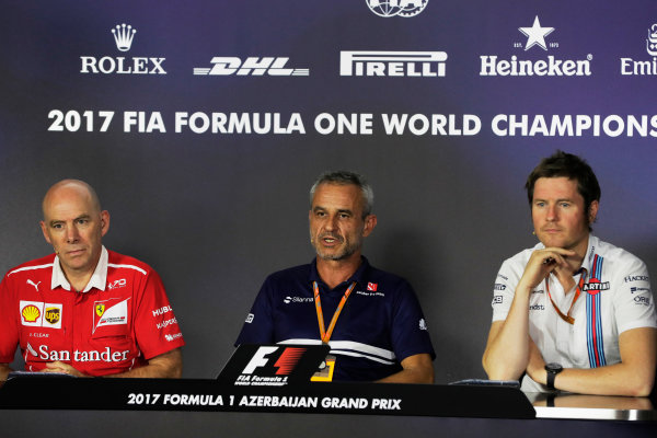 Baku City Circuit, Baku, Azerbaijan. Friday 23 June 2017. Jock CLEAR (Ferrari), Rob SMEDLEY (Williams), Beat ZEHNDER (Sauber) World Copyright: Zak Mauger/LAT Images ref: Digital Image _56I7022