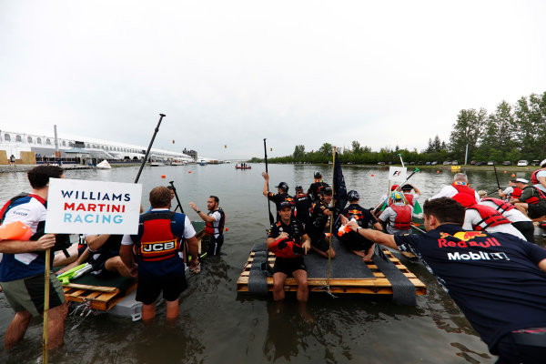 Circuit Gilles Villeneuve, Montreal, Canada. Saturday 10 June 2017. The Williams and Red Bull Racing rafts get under way in the race. World Copyright: Glenn Dunbar/LAT Images ref: Digital Image _X4I7156