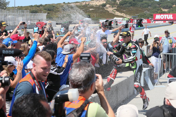 2017 Superbike World Championship - Round 8 Laguna Seca, USA. Sunday 9 July 2017 Winner Jonathan Rea, Kawasaki Racing sprays fans World Copyright: Gold and Goose/LAT Images ref: Digital Image 683468