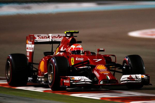Yas Marina Circuit, Abu Dhabi, United Arab Emirates. Saturday 22 November 2014. Kimi Raikkonen, Ferrari F14T. World Copyright: Glenn Dunbar/LAT Photographic. ref: Digital Image _W2Q5752