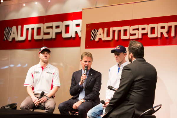 Autosport International Exhibition. National Exhibition Centre, Birmingham, UK. Thursday 8 January 2015. Malcolm Wilson, Elfyn Evans and Sander Pam on the Autosport stage. World Copyright: Malcolm Griffiths/LAT Photographic. ref: Digital Image A50A0458