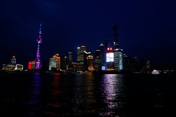 Shanghai International Circuit, Shanghai, China. Wednesday 8 April 2015. A view of Shanghai at night. World Copyright: Charles Coates/LAT Photographic. ref: Digital Image _N7T0377