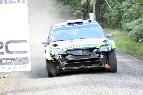 Mikko Hirvonen (FIN), Ford Focus WRC, with damage incurred on stage 15.FIA World Rally Championship, Rd11, Repco Rally New Zealand, Day Three, Sunday 31 August 2008.