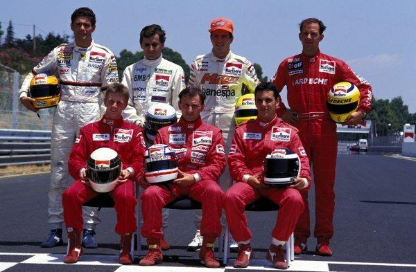 (Back row, L-R) Karl Wendlinger (AUT), Alessandro Zanardi (ITA), Christian Fittipaldi (BRA), Jean-Marc Gounon (FRA) (Front row, L-R) Allan McNish (GBR), Andrea Montermini (ITA), Laurent Aiello (FRA).International F3000 Championship, Rd5, Enna Pergusa, Italy, 7 July 1991.