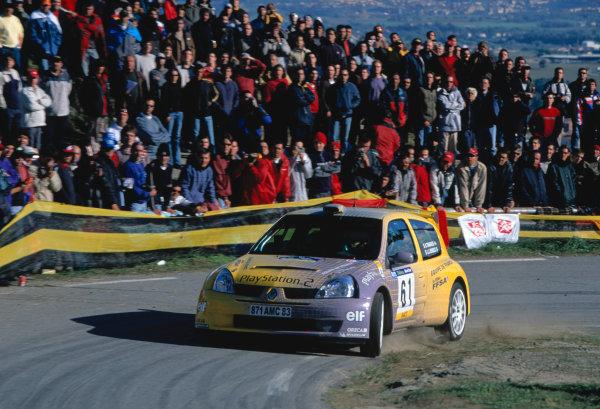 2003 World Rally Championship, Catalunya, Spain, Rd13. 23 - 26 October 2003.Brice Tirabassi/Jacques Julien Benucci, Renault Clio. ActionWorld Copyright: McKlein/LAT PhotographicRef: Transparency 03_WRC_Rd13_01
