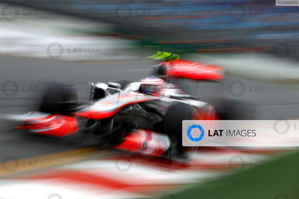 Albert Park, Melbourne, Australia 25th March 2011. Jenson Button, McLaren MP4-26 Mercedes. Action.  World Copyright: Glenn Dunbar/LAT Photographic ref: Digital Image _G7C3507