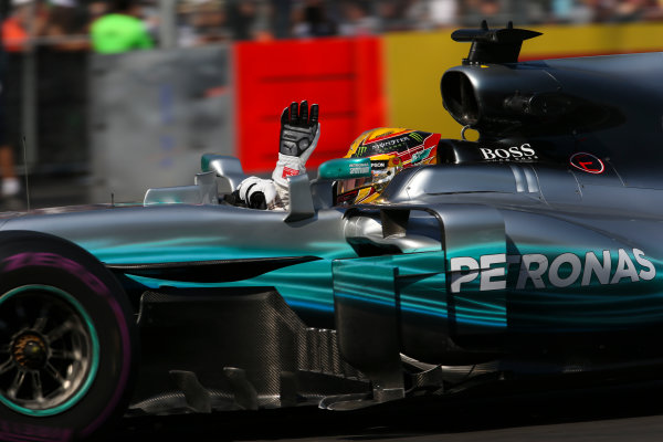 Autodromo Hermanos Rodriguez, Mexico City, Mexico. Friday 27 October 2017. Lewis Hamilton, Mercedes F1 W08 EQ Power+, waves to the crowd. World Copyright: Charles Coates/LAT Images  ref: Digital Image AN7T8574