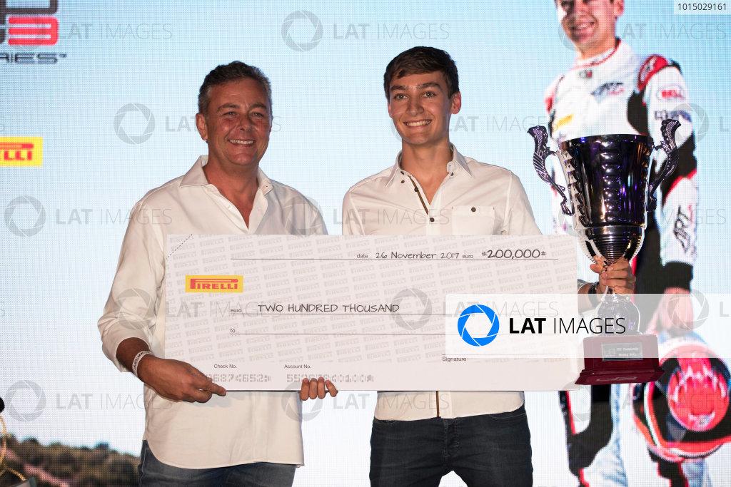2017 Awards Evening. Yas Marina Circuit, Abu Dhabi, United Arab Emirates. Sunday 26 November 2017. George Russell (GBR, ART Grand Prix).  Photo: Zak Mauger/FIA Formula 2/GP3 Series. ref: Digital Image _56I3875