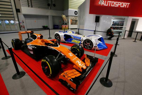 Autosport International Exhibition. National Exhibition Centre, Birmingham, UK. Friday 12th January 2018. A McLaren and Robocar on display.World Copyright: Joe Portlock/LAT Images Ref: _L5R8899