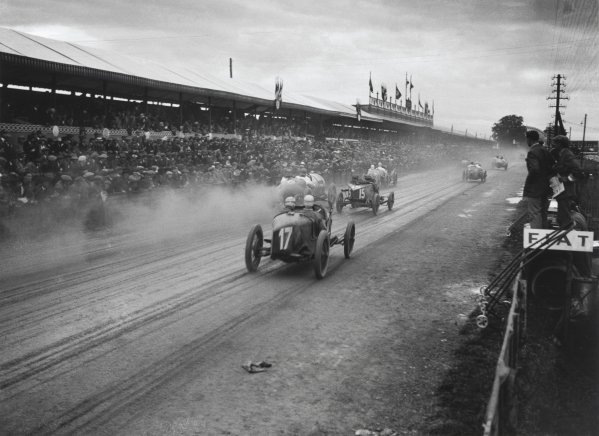1922 French Grand Prix.Strasbourg, France. 16 July 1922.The first massed start to a grand prix. Car number 17 is Biagio Nazzaro in a Fiat 804. He died after the rear axle casting failed causing him to crash.World Copyright: LAT Photographic. Ref: Autocar Glass Plate A1104.