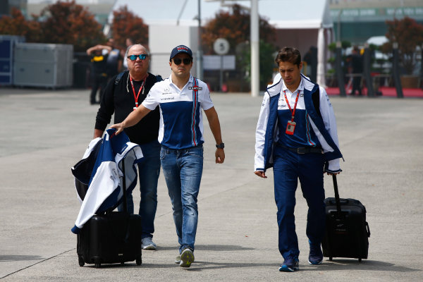 Shanghai International Circuit, Shanghai, China.  Saturday 08 April 2017. Felipe Massa, Williams Martini Racing, arrives in the paddock with his father Luis Antonio. World Copyright: Andy Hone/LAT Images ref: Digital Image _ONZ4666