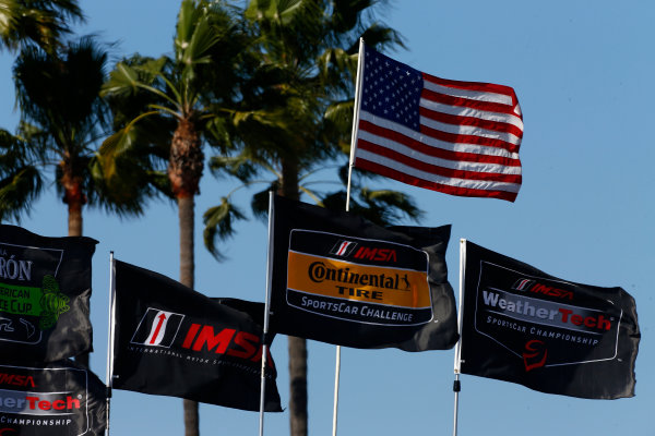 2017 IMSA WeatherTech SportsCar Championship BUBBA burger Sports Car Grand Prix at Long Beach Streets of Long Beach, CA USA Saturday 8 April 2017 IMSA Paddock flags World Copyright: Phillip Abbott/LAT Images ref: Digital Image lat_abbott_lbgp_0417_6835