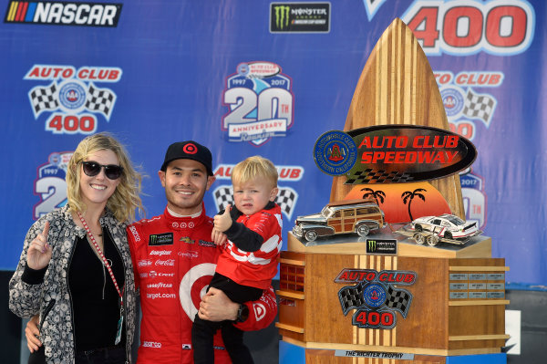 2017 Monster Energy NASCAR Cup Series Auto Club 400 Auto Club Speedway, Fontana, CA USA Sunday 26 March 2017 Kyle Larson celebrates his win in Victory Lane World Copyright: Nigel Kinrade/LAT Images ref: Digital Image 17FON1nk08540