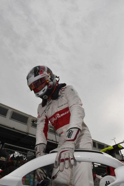 Charles Leclerc (MON) Alfa Romeo Sauber C37 on the grid on the grid