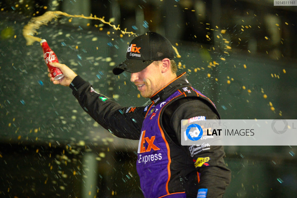 12-13 February, 2016, Daytona Beach, Florida, USA Denny Hamlin, FedEx Express Toyota Camry, celebrates in victory lane after winning the Sprint Unlimited. ?2016, Logan Whitton LAT Photo USA