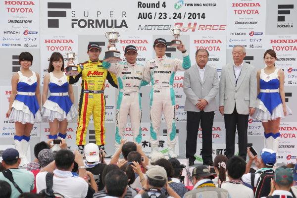 2014 All-Japan F3 Championship. Motegi, Japan. 23rd - 24th August 2014. Rd 5. Race 1 - Winner Takamoto Katsuata ( #1 PETRONAS TEAM TOM'S ) 2nd position Mitsunori Takaboshi ( #22 B-MAX Racing Team with NDDP ) 3rd position Kenta Yamashita ( #36 PETRONAS TEAM TOM'S ) podium, portrait. World Copyright: Yasushi Ishihara / LAT Photographic. Ref:  2014JF3_Rd10&11_006.JPG