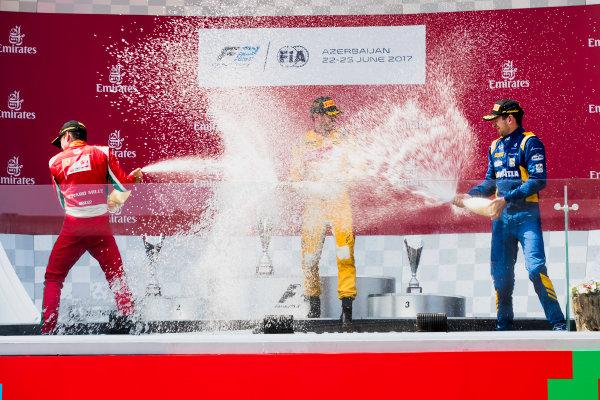 2017 FIA Formula 2 Round 4. Baku City Circuit, Baku, Azerbaijan. Sunday 25 June 2017. Charles Leclerc (MCO, PREMA Racing), Norman Nato (FRA, Pertamina Arden), Nicholas Latifi (CAN, DAMS)  Photo: Zak Mauger/FIA Formula 2. ref: Digital Image _56I8651