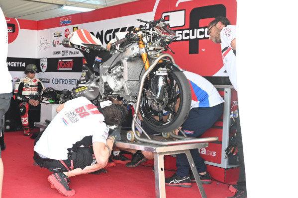 Niccolo Antonelli, SIC58 Squadra Corse's crashed bike.