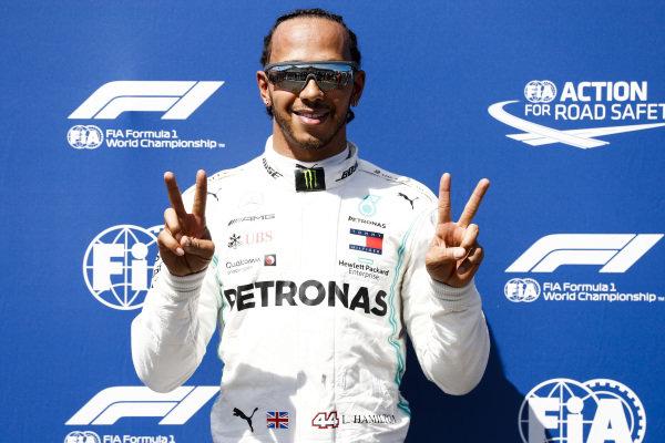 Pole man Lewis Hamilton, Mercedes AMG F1, celebrates
