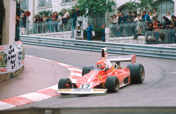 1975 Monaco Grand Prix.Monte Carlo, Monaco.9-11 May 1975.Niki Lauda (Ferrari 312T) 1st position.Ref-75 MON 02.World Copyright - LAT Photographic