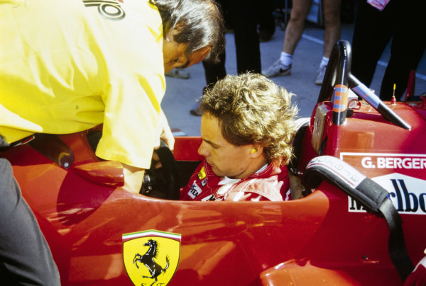 Gerhard Berger is strapped into his Ferrari F1/87-88C.