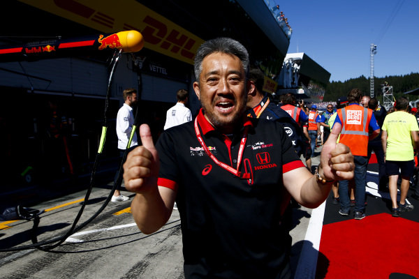 Masashi Yamamoto, General Manager, Honda Motorsport, celebrates after victory for Max Verstappen, Red Bull Racing, 1st position