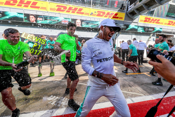 Race winner Lewis Hamilton (GBR) Mercedes AMG F1 celebrates with theteam and the champagne at Formula One World Championship, Rd13, Italian Grand Prix, Race, Monza, Italy, Sunday 3 September 2017.