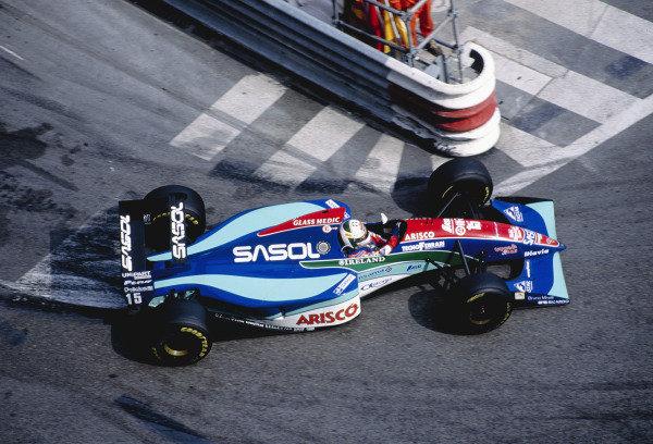 1994 Monaco Grand Prix.Monte Carlo, Monaco. 12-15 May 1994.Andrea de Cesaris (Jordan 194 Hart) 4th position, at the Nouvelle Chicane.Ref-94 MON 77.World Copyright - LAT Photographic