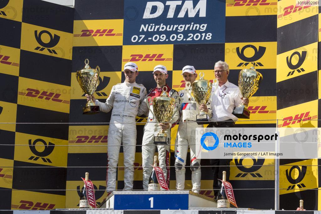 Podium: Race winner René Rast, Audi Sport Team Rosberg, second place Paul Di Resta, Mercedes-AMG Team HWA, Mercedes-AMG C63 DTM and third place Marco Wittmann, BMW Team RMG, BMW M4 DTM.