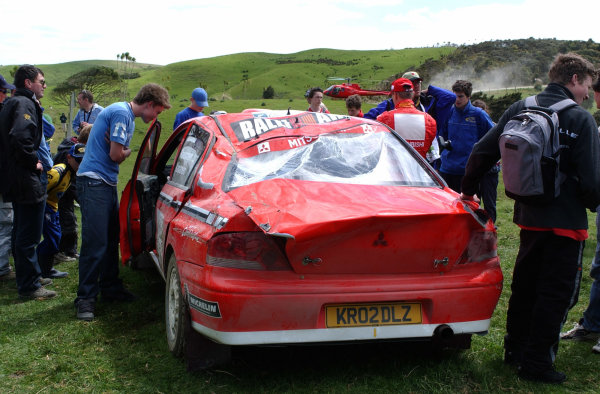 2002 World Rally Championship.Propecia Rally of New Zealand, Auckland, October 3rd-6th.Jani Paasonen's Mitsubishi after rolling on stage 10.Photo: Ralph Hardwick/LAT