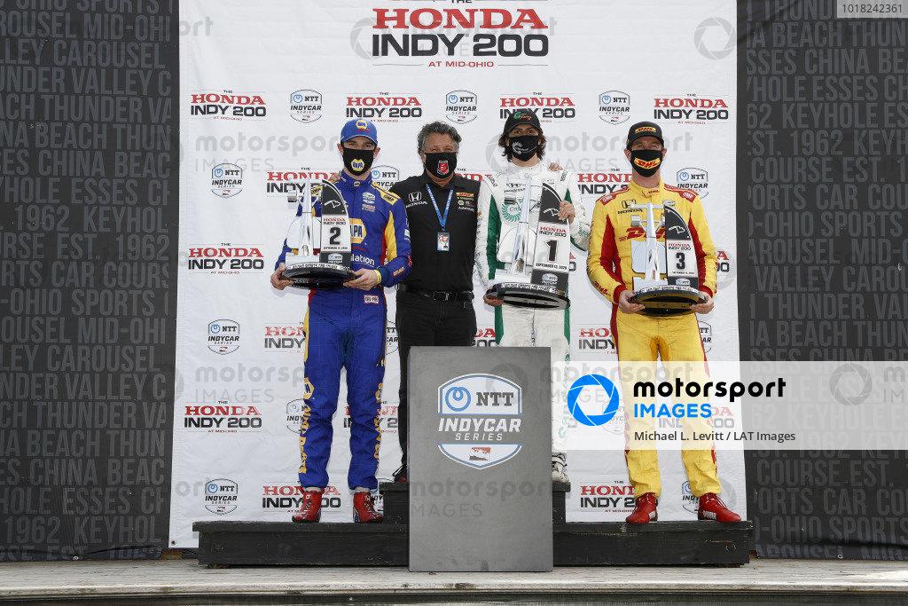 #27: Alexander Rossi, Andretti Autosport Honda, #88: Colton Herta, Andretti Harding Steinbrenner Autosport Honda, #28: Ryan Hunter-Reay, Andretti Autosport Honda, podium, Michael Andretti