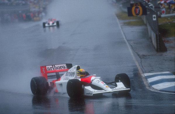 1991 Australian Grand Prix.Adelaide, Australia.1-3 November 1991.Ayrton Senna (McLaren MP4/6 Honda) 1st position.Ref-91 AUS 05.World Copyright - LAT Photographic