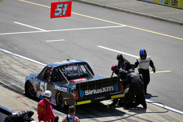 #51: Christian Eckes, Kyle Busch Motorsports, Toyota Tundra SiriusXM makes a pit stop